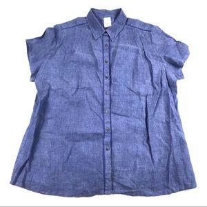 Lands End Button Front Linen Shirt 1X 16W-18W